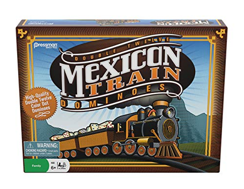 Pressman Mexican Train Dominoes Beautifully Colored Dominoes - Set Includes Train Markers and Hub, Generic, 5' (3928-06)