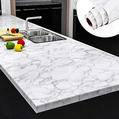 Yenhome Faux Marble Peel and Stick Countertops 24' x 118' White Gray Marble Counter Top Covers Peel and Stick...