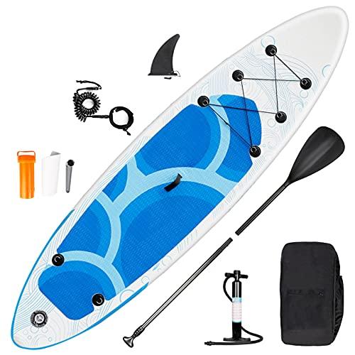 inty Stand Up Paddle Board Gonflable, Sup Paddle en PVC/EVA avec Pagaie Réglable, Pompe à Double Action, Laisse, Sac de Transport, Boîte de Réparation, Aileron (RY-309)