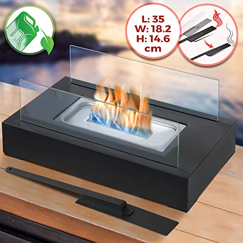 Tabletop Bio-Ethanol Fireplace - 35 x 18.2 x 14.6 cm, Stainless Steel Body, 2 Heat Resistant Glass Panels, Single Burner, with Extinguishing Tool - Portable Fire Pit