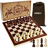 ASNEY Upgraded Magnetic Chess Set, 12' x 12' Folding Wooden Chess Set with Magnetic Crafted Chess Pieces, Chess Game Board Set with Storage Slots, Includes Extra Kings, Queens and Carry Bag