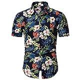 YOUTHUP Chemise Homme Casual Imprimé Fleur Manches Courtes Col Debout Plage Hawaiienne Fraîche été