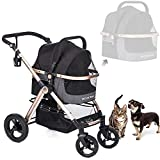 HPZ Pet Rover Prime 3-in-1 Luxury Dog/Cat/Pet Stroller (Travel Carrier + Car Seat +Stroller) with Detach Carrier/Pump-Free Rubber Tires/Aluminum Frame/Reversible Handle for Medium & Small Pets (BLACK)