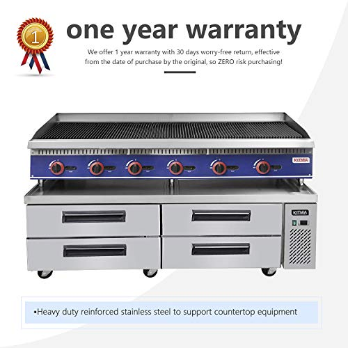 Commercial 4 Drawer Refrigerated Chef Base - KITMA 72 Inches Stainless Steel Chef Base Work Table Refrigerator, 33 °F - 38°F 6