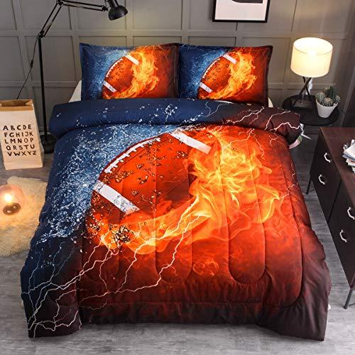 Sisher Kids Bedding Sets,American Football Full Size Comforter Sets,Rugby Comforter Sets for Boys (1 Full Size Comforter + 2 Pillow Shams)