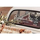 Stickers Muraux Floral Personnalisé Nom Date Autocollants Diy Mariage De Voiture Décor Decal Personnalisé Mariée Marié Noms