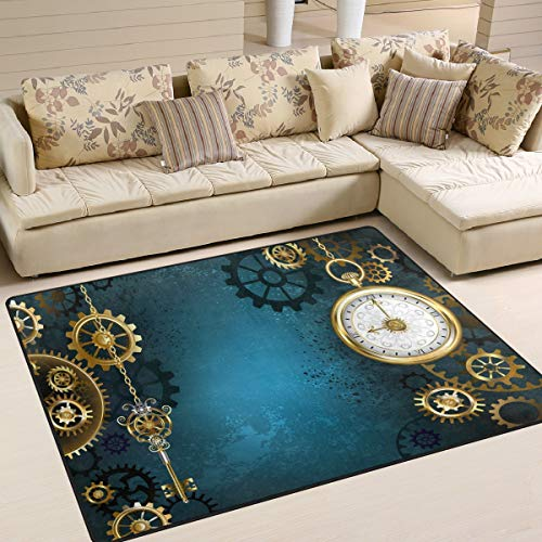 Use7 Retro Steampunk Gold Gears Clock Area Rug Rugs for Living Room Bedroom 160cm x 122cm(5.3 x 4 feet) (Kitchen & Home)