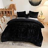 MEGO Luxury Shaggy Duvet Cover Set Ultra Soft Faux Fur Fluffy Comforter Set Fuzzy Bedding 3 Pieces(1 Duvet Cover + 2 Pillow Shams),Zipper Closure(Queen,Black)
