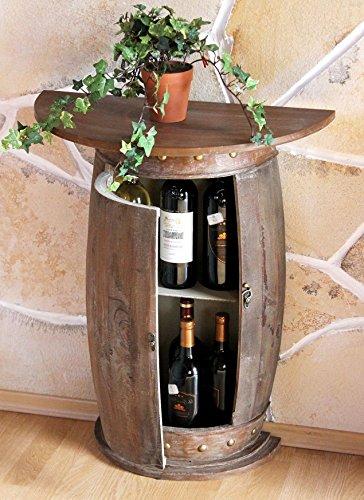 DanDiBo Wandtisch halbrund Tisch Weinregal Weinfass 0373-R Braun Schrank Fass aus Holz 73 cm Beistelltisch Konsole Wandkonsole Bar
