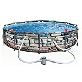 Bestway 56817E 12' x 30' Steel Pro Max Round Above Ground Swimming Pool Kit with Filter Pump and Filter, Stone Print