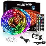 DAYBETTER Led Strip Lights 32.8ft 5050 RGB 300 LEDs Color Changing Lights Strip for Bedroom, Desk, Home Decoration, with Remote and 12V Power Supply