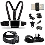 Supkeyer Cellphone Selfie Chest Mount+ Head Mount+ Wrist Mount with Clip for Gopro Hero 7 6 5 4 3+ 3 / Sony Action Cam/Xiaomi Yi Action Camera/iPhone Xs Max XR 8+ 8 7+ / Sony LG ZTE Cellphone