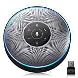 Bluetooth Speakerphone - eMeet M2 Gray Conference Speaker w/Dongle, Idea for Home Office 360º Voice Pickup 4 AI Echo & Noise Canceling Microphones, Skype Speakerphone AUX in/Out for up to 8 People