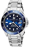 Mens stainless steel watch with polished silver tone round case & stainless steel screw down case back Matte finish electric blue dial watch with magnifying date window, stainless steel unidirectional bezel with silver tone markings and coin edge det...