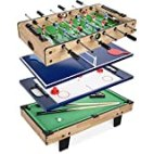 Best Choice Products 4-in-1 Multi Game Table, Childrens Combination Arcade Set for Home, Play Room, Rec Room w/Pool Billiards, Air Hockey, Foosball and Table Tennis