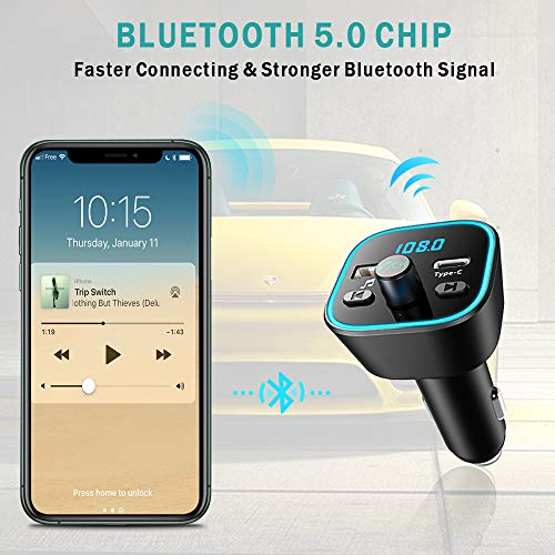 Product Image 6: COMSOON FM Transmitter for Car, Bluetooth Car Adapter with 7 Colors LED Backlight, Wireless Music Player Radio Transmitter Hands Free Car Kit with Type-C PD Quick Charging Port & USB Drive