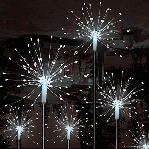 Mixtooltoys - Luci a energia solare, 90 LED colore bianco per esterni fuochi d'artificio decorazione da giardino, per matrimoni, vialetti, cortili, cortili, decorazioni natalizie (2 pezzi)