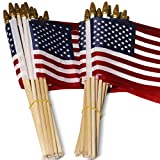 Anley LOT of 50 USA 4x6 in Wooden Stick Flag - July 4th Decoration, Veteran Party, Grave Marker,...