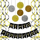 Graduation 2021 Decorations Graduation Party Decorations Graduation Party Supplies 2021,We are So Proud of You Banner with 6 Pom Poms 2 Gold 2 Yellow 2 Silver, 6 Swirls 3 Gold 3 Silver