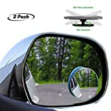 lebogner 2 Pack Blind Spot Accessories 2' Round HD Glass Slim Frameless Convex Rear View, Wide Angle 360Rotate 30Sway Adjustable Stick On Mirror for All Cars, SUV, and Trucks