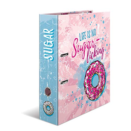 HERMA Archivador de anillas con palanca Crazies con motivo Sugar Donut, A4, 70 mm, con estampado interior, 1 carpeta con motivos