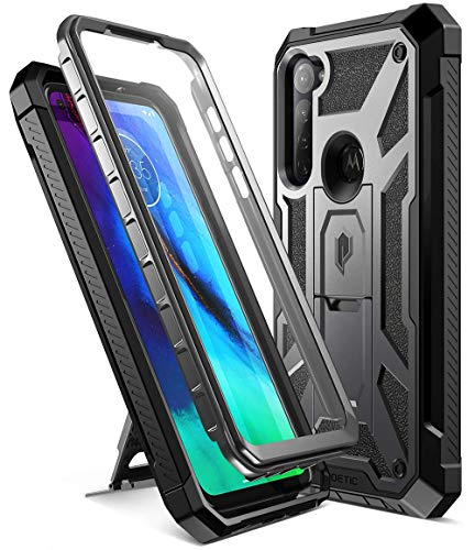 Poetic Spartan Series Designed for Moto G Stylus Case, Full-Body Rugged Dual-Layer Metallic Color Accent with Premium Leather Texture Shockproof Protective Cover with Kickstand, Metallic Gun Metal