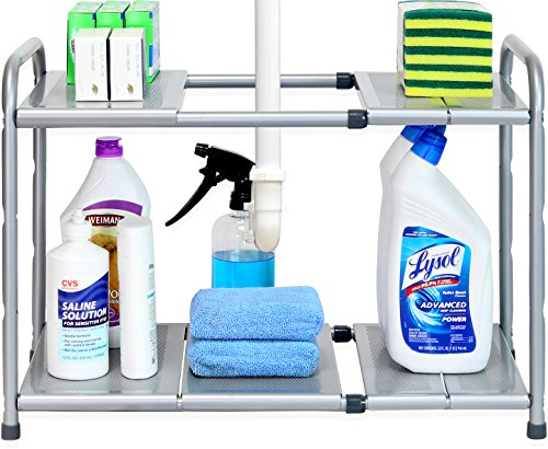 SimpleHouseware Under Sink 2 Tier Expandable Shelf Organizer...