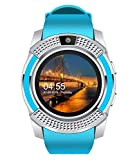 GIXON V8 Smart Watch Bluetooth Smartwatch Compatible with All Mobile Phones for Boys and Girls (Blue)