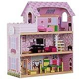 Homcom Maison de poupée en Bois Jeu d'imitation Grand réalisme Multi-équipements 60L x 30l x 72H cm Blanc Rose