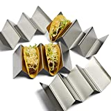 Stainless Steel Taco Holders - 4 Pack - Kitchen Essentials - Tortillas Stand - No Mess Taco - Grill Items - Dishwasher Safe - Easy to Use - Homegoods - Place Replacement