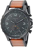Fossil Q Men's Nate Stainless Steel and Leather Hybrid Smartwatch, Color: Black, Brown (Model: FTW1114)