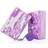 WayEee Bloques de Yoga 2 Unidades Yoga Block de Espuma EVA de Alta Densidad Ladrillo Yoga para Mejorar la Fuerza y Ayudar en el Equilibrio y la Flexibilidad Yoga Pilates Amantes (Violeta)