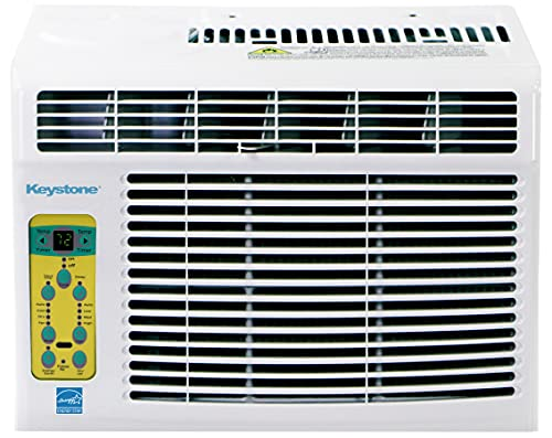 Keystone KSTAW05BE 5,000 BTU Window-Mounted Air Conditioner with Follow Me LCD Remote Control, 5000, White