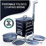 VidaLibre Camping Stove  Portable Outdoor Wood Burning Folding Camp Stove for Camping, Hiking, Fishing, Hunting, RV, Emergency Preparedness - Portable Camping Grill - BBQ Rocket Stove