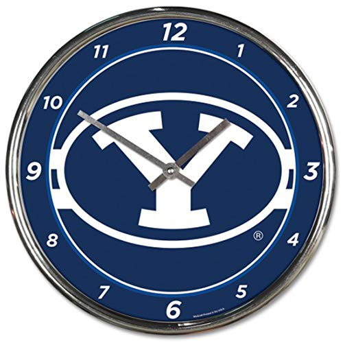 Brigham Young BYU Cougars Round 12 inch Wall Clock Chrome Plated