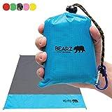 BEARZ Outdoor Beach Blanket, Waterproof Picnic Blanket 55″x60″ - Lightweight Camping Tarp, Compact Pocket Blanket, Festival Gear, Sand Proof Mat for Travel, Hiking, Sports - Packable w/Bag (Blue)