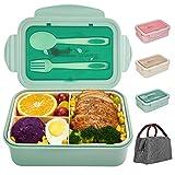 SHAKNIFE Bento Box für Kinder Erwachsene, 1400ML Luftdichte Lunchbox mit Lunchtasche Löffel Gabel, BPA-Freie und Lebensmittelechte Brotdose mit 3 Fächern (Grün)