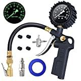 AstroAI Tire Inflator with Pressure Gauge, 100 PSI Air Chuck and Compressor Accessories Heavy Duty with Large 2.5' Easy Read Glow Dial, Durable Rubber Hose and Quick Connect Coupler