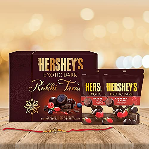 Hershey's Exotic Dark Rakhi Chocolate Gift Pack -Rasberry & Goji Variant|with Rakhi |1 Gift Hamper (2*100 gm Pack) + Rakhi