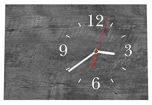 LAUTLOSE Designer Tischuhr Holz Optik grau ebenholz Standuhr modern Dekoschild Bild 30 x 20cm
