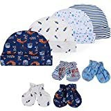Lictin Bonnets de Naissance et Moufles de Protection - 100% Coton 4pcs Bonnets...