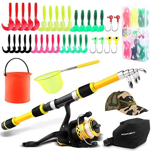Bastone da pesca per bambini, canna da pesca telescopica combinata con rete da pesca, cappello da pesca, secchio pieghevole, kit esche da viaggio, attrezzatura da pesca per bambini e ragazze, Giallo