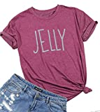 Peanut Butter Jelly Shirts for Best Friends Women Short Sleeve Funny T Shirts Top Size L (Red)