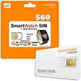 SpeedTalk Mobile Smart Watch SIM Card - Compatible with 4G LTE GSM Smartwatches and Wearables - 1 Year Service