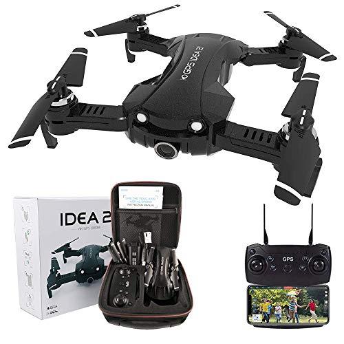 le-idea Drone GPS con Telecamera 4k, Pieghevole Mini Quadcopter 5GHz WiFi FPV Trasmissione, Primo Drone per Principianti, Fotocamera 120 FOV, Ritorno Automatico, BorsettaAggiorna IDEA21