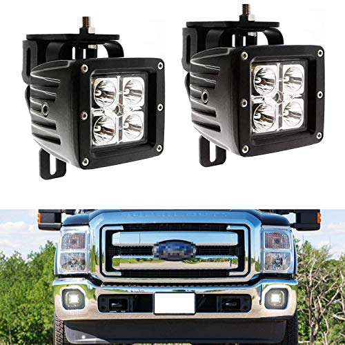 iJDMTOY LED Pod Light Fog Lamp Kit Compatible With 1999-2016 Ford F250 F350 F450 Super Duty, Includes (2) 20W High Power CREE LED Cubes, Foglight Location Mount Brackets & Wiring/Adapter Harnesses