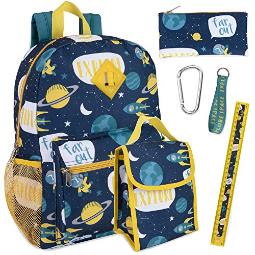 Trail maker di 6 in 1 zaino set con il sacchetto del pranzo, astuccio, bottiglia, portachiavi, clip boy (spazio)