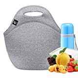 Neoprene Lunch Bag,LOVAC Thick Insulated Lunch Bag - Durable & Waterproof Lunch Tote With Zipper For Outdoor Travel Work School (Cool Gray)