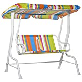 Outsunny 2-Seat Kids Canopy Swing Chair Toddler Outdoor Glider Hammock Lounge with Shade Awning Seat...
