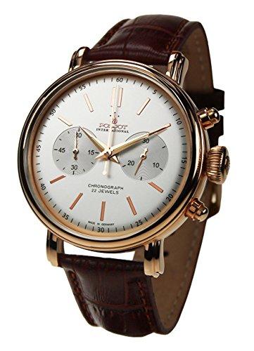 POLJOT International Chronograph Classic Mechanische Armbanduhr Herren Lederband Braun Vergoldet